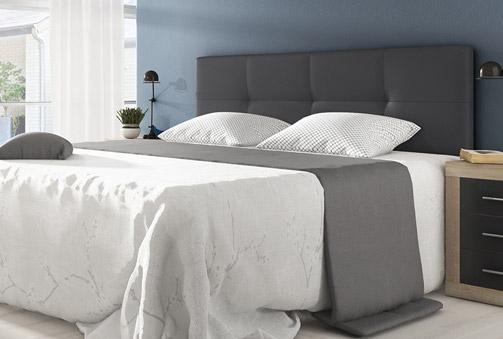 Deskontalia cabecero acolchado y tapizado en color blanco o gris grafito - Cabecero acolchado ...