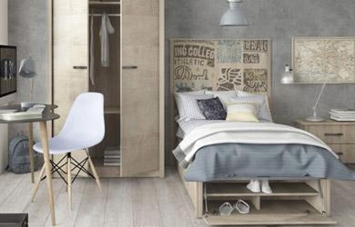 Dormitorio juvenil con canapé en color roble