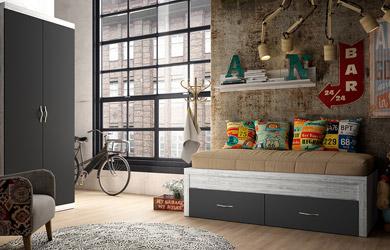 Habitación juvenil con cama nido color artic/grafito