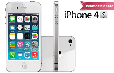 iPhone 4S 16GB reacondicionado libre. Color blanco. Caja neutra con cargador y cable nuevo compatible