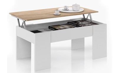 Mesa de centro elevable blanco artic y roble canadian