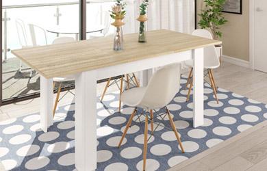Mesa de comedor extensible color blanco artic y roble canadian