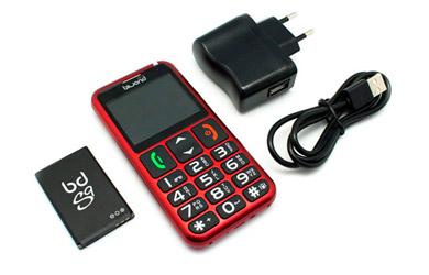 Teléfono móvil para mayores con grandes teclas y botón de Emergencia disponible en negro o rojo
