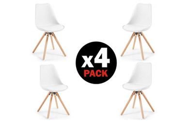 Pack de 4 sillas escandinavas acolchadas